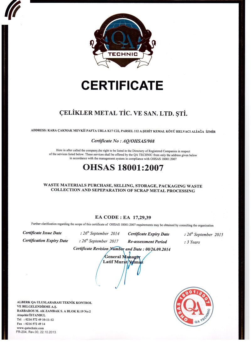 Celikler metal trades industry cod certificate of registration international and quality certification 1betcityfo Choice Image